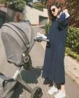 둘째 임신 박수진, 아들과 산책…완벽 D라인