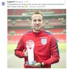 해리 케인, 잉글랜드 축구협회가 뽑은 '2017 올해의 선수'