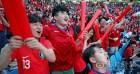 대구스타디움에서 응원전 펼치는 붉은악마들