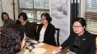 5·18성폭력 피해 청취하는 정현백 장관